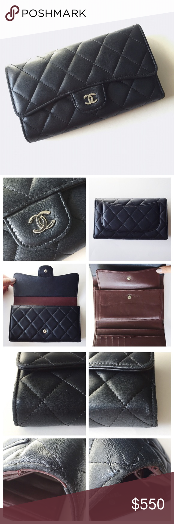 a29e94cb9214 Classic Chanel Flap Wallet Black lambskin and burgundy with silver hardware  tri fold wallet. Size