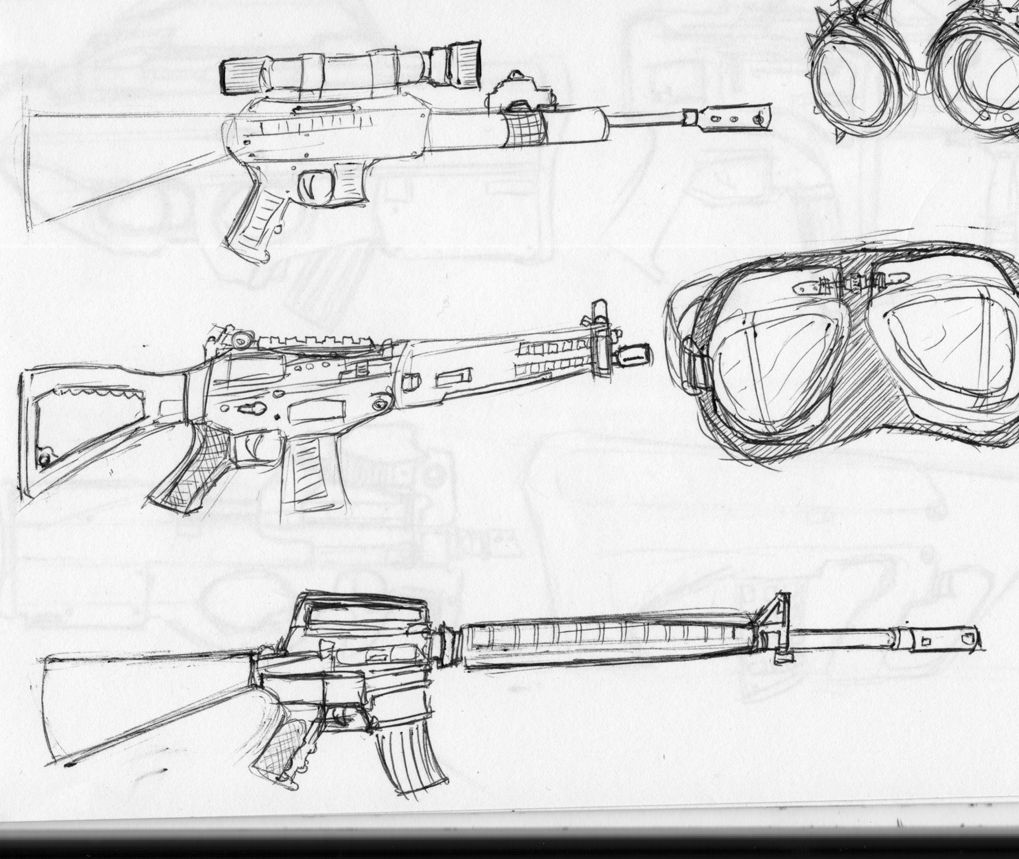 Rifle Sketches Of Not So Futuristic Looking Models And Some