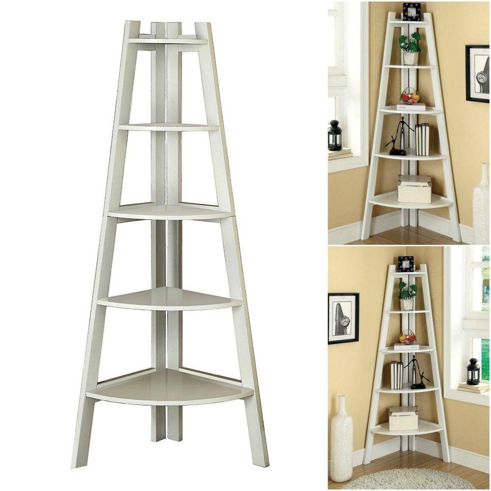 Corner ladder bookcase tier wood bookshelf storage shelf office