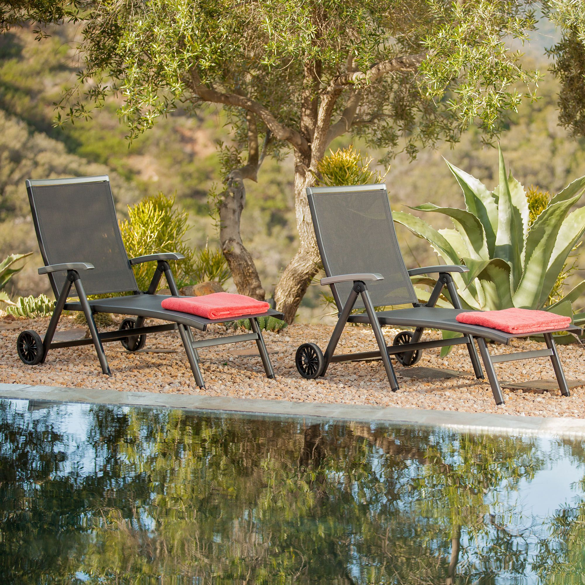 Ludwig Aluminum Sling Folding Patio Chaise Lounge With