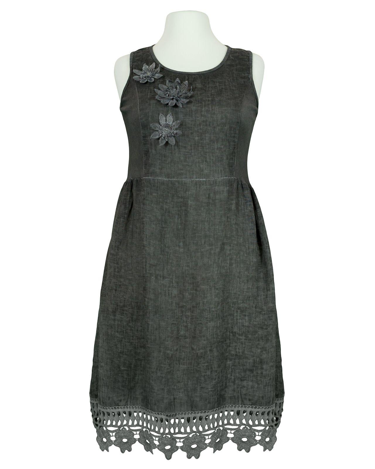 kleid baumwolle mit spitze, grau bei meinkleidchen kaufen