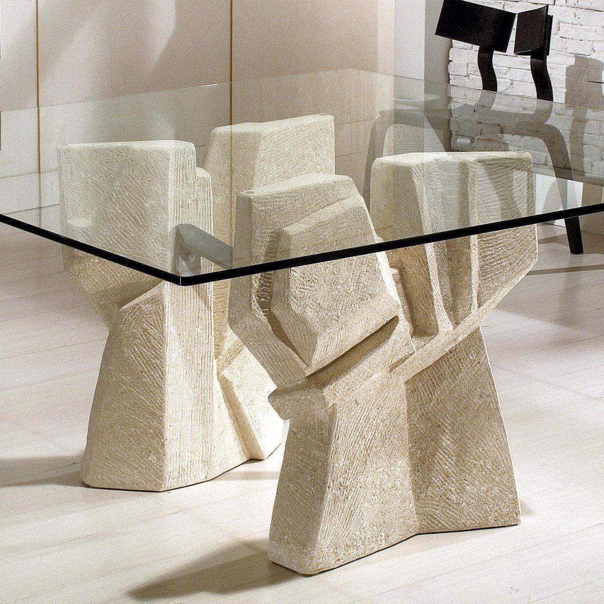 Tavolo con doppia base in pietra vicentina lavorata a mano kimono quadrato by laboratorio del - Tavolo con base in pietra ...