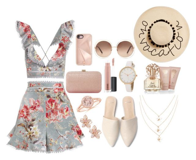 """Summer!"" by pancakemafia ❤ liked on Polyvore featuring NAKAMOL, Zimmermann, Vince Camuto, Dune, MAC Cosmetics, August Hat, Chloé and Rebecca Minkoff"