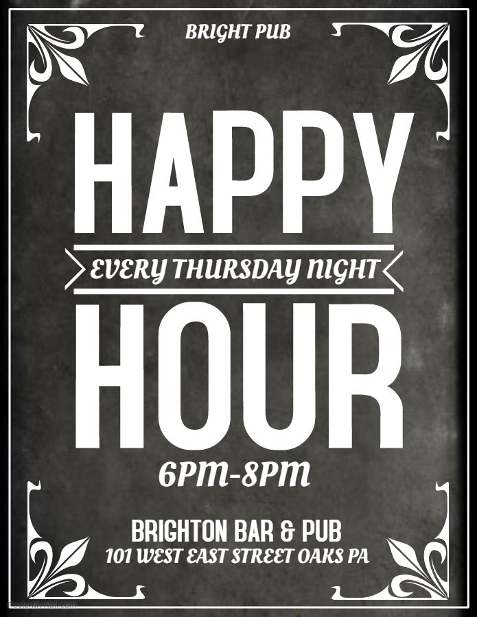Grey Bar Flyer Template Happy Hour Thursday Bar Flyers - black and white flyer template