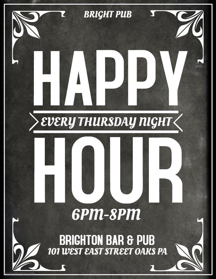 Grey Bar Flyer Template Happy Hour Thursday  Bar Flyers