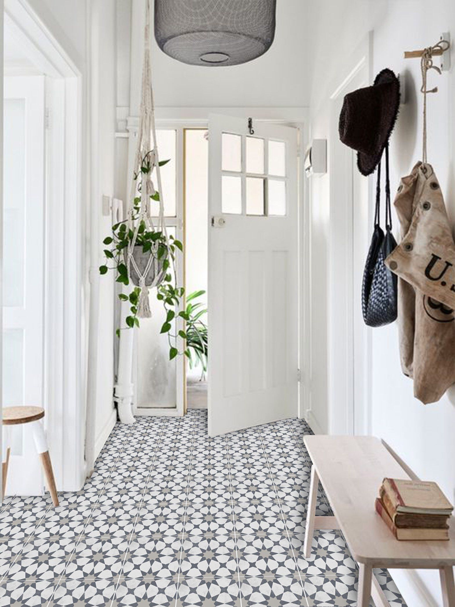 Hallway furniture b&m  Agadir Vinyl Tile Sticker Pack in Grey  Tile Decals  Floor
