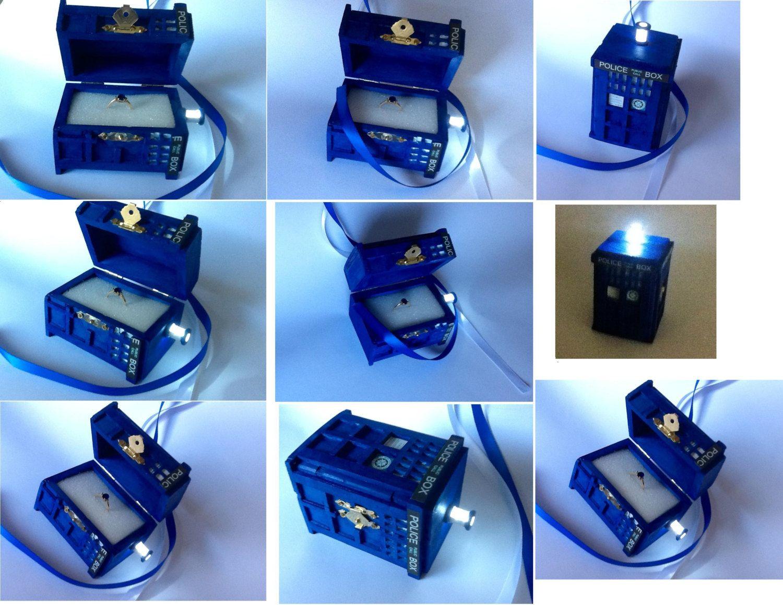 tardis wedding ring box with led light handmade tardis engagement ring box doctor who proposal box - Dr Who Wedding Ring