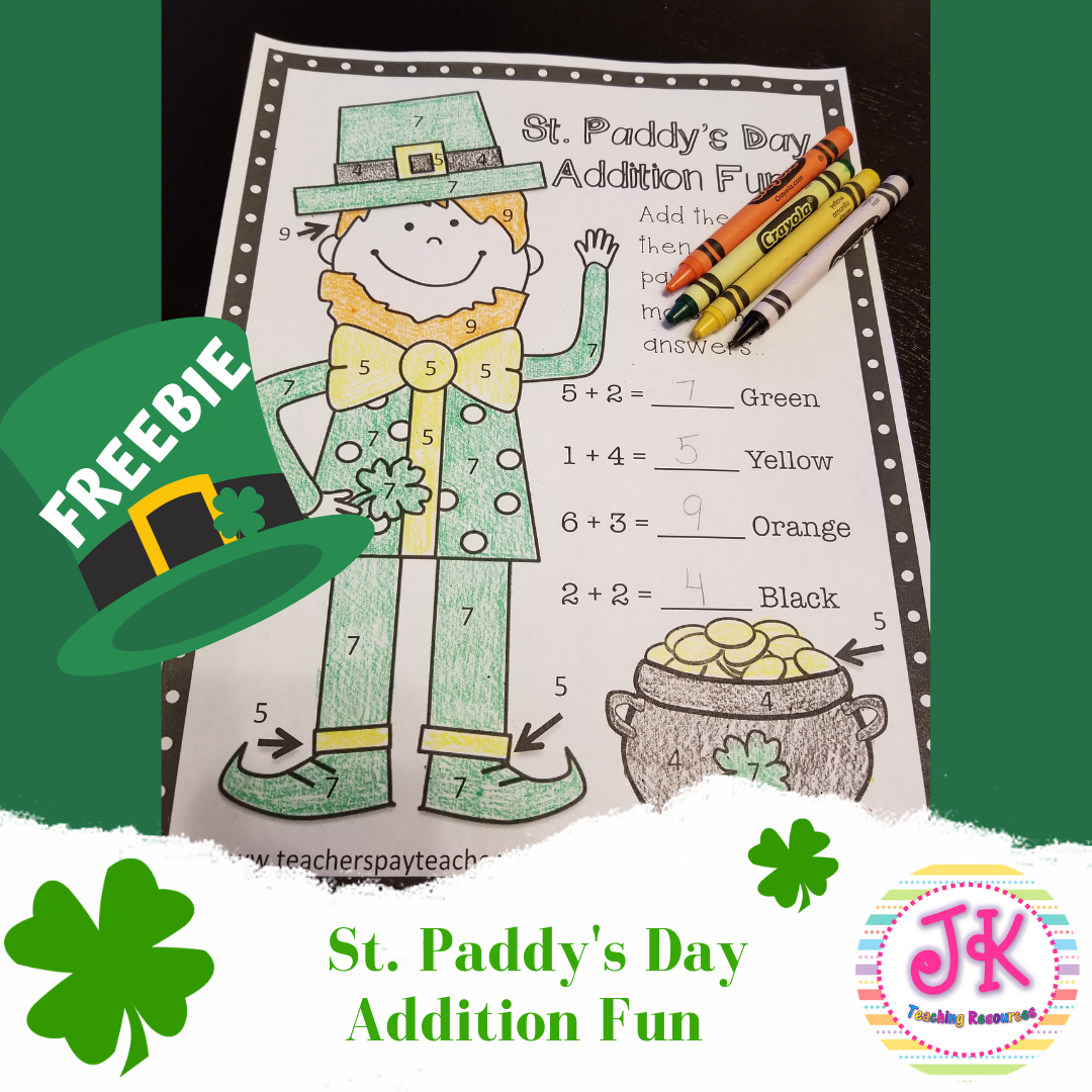 Freebie St Patrick S Day Addition Coloring Page