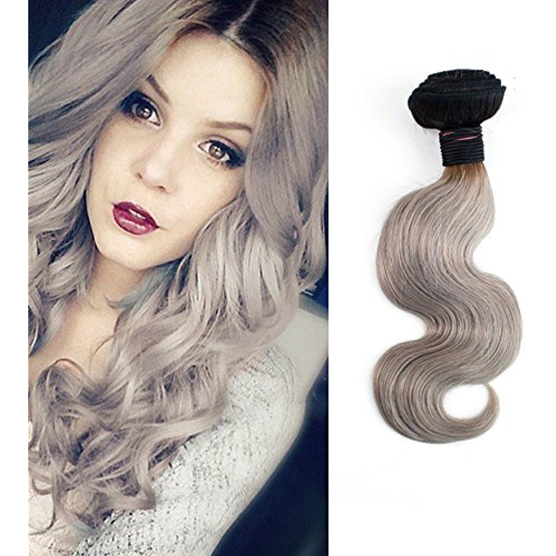 Dlingli Hair Brazilian Virgin Hair Weave Gray Color Body Wave Two