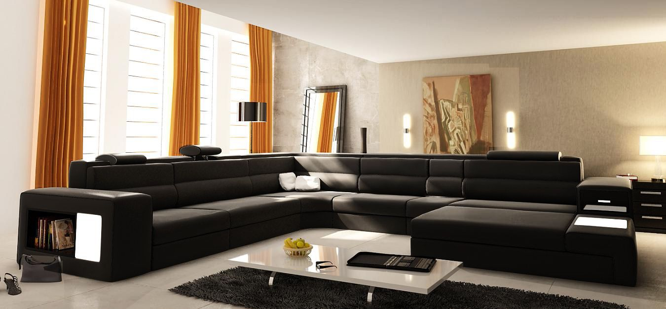 Good Chic U Shaped Sectional Sofas You Must Have : Contemporary Black UShaped  Bonded Leather Sectional