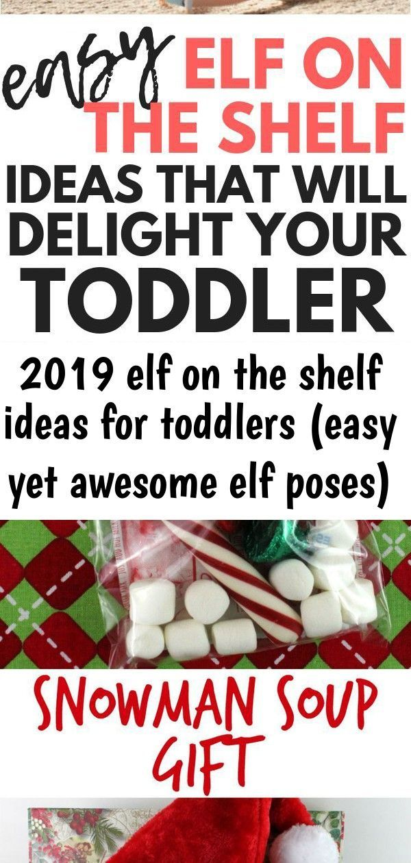 2019 elf on the shelf ideas for toddlers (easy yet awesome elf poses) #elfontheshelfideasfortoddlers Elf on the Shelf ideas for toddlers: If you're starting the Elf on the Shelf Christmas tradition with your toddler, you need tips on making this tradition fun for your child while also keeping it simple (while you still can!) These Elf on the Shelf antics are easy and simple, but definitely toddler-approved.  See how easy DIY Christmas Tree Decorating can be. Using a few simple supplies, you can #elfontheshelfideasfortoddlers