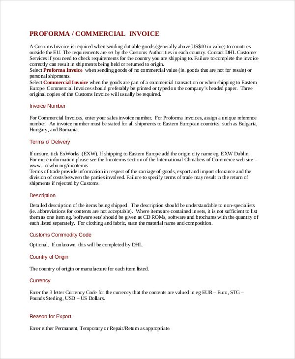 Proforma Commercial Invoice Template , Commercial Invoice Template ...