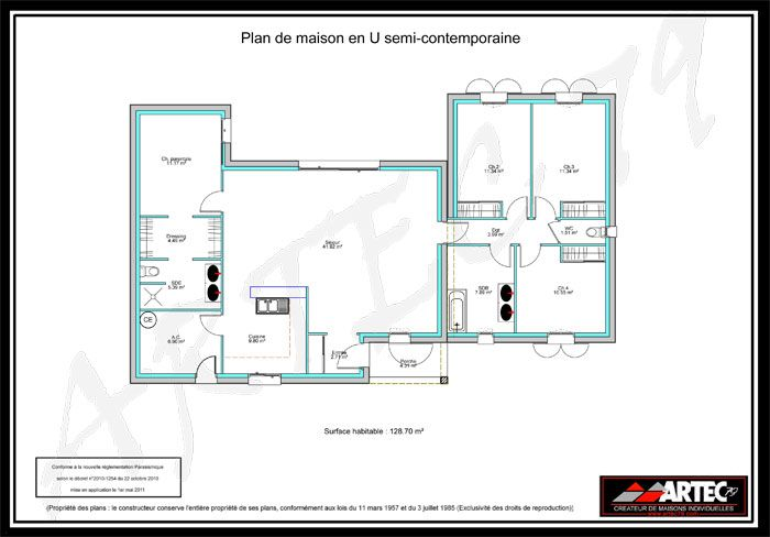 Plan maison 100m2 3 chambres house building projects for Maison moderne 100m2