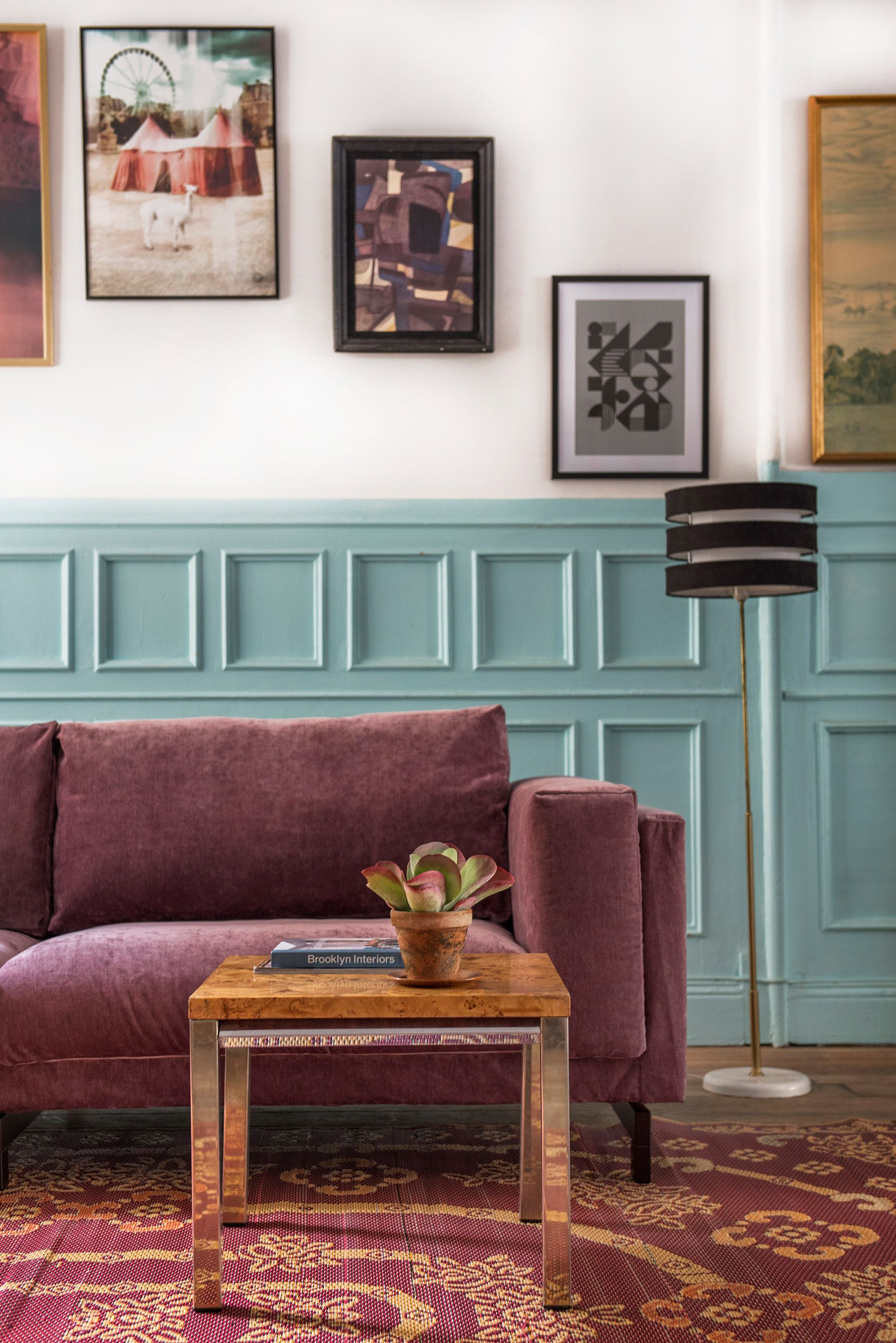 Dusty Pink Velvet Sofa | Retro Coffee Table | Blue Wood Panelling | IKEA  Nockeby Sofa With A Bemz Sofa Cover In Clover Velvet | Home And Work Space  ...