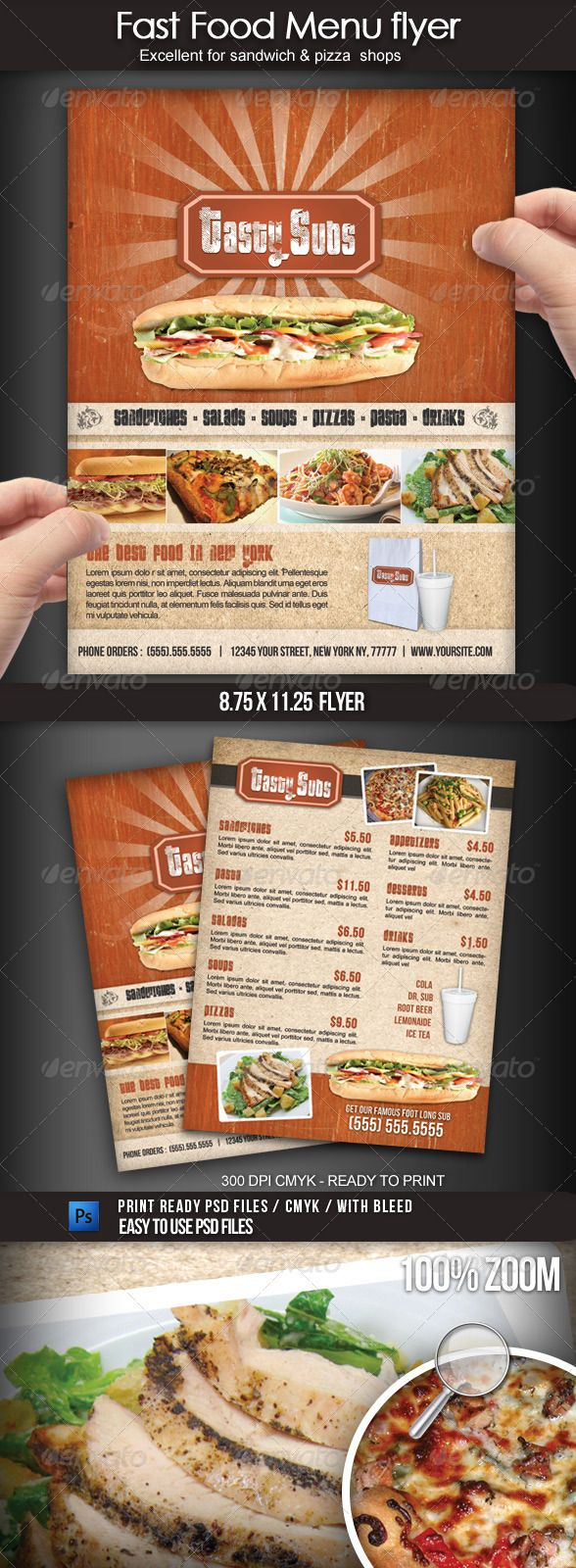 Fast Food Menu Flyer | Fast food menu, Food menu template and Food ...