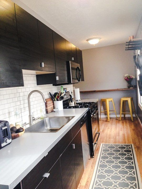 Before After A Narrow Galley Kitchen Gets An Urban Update