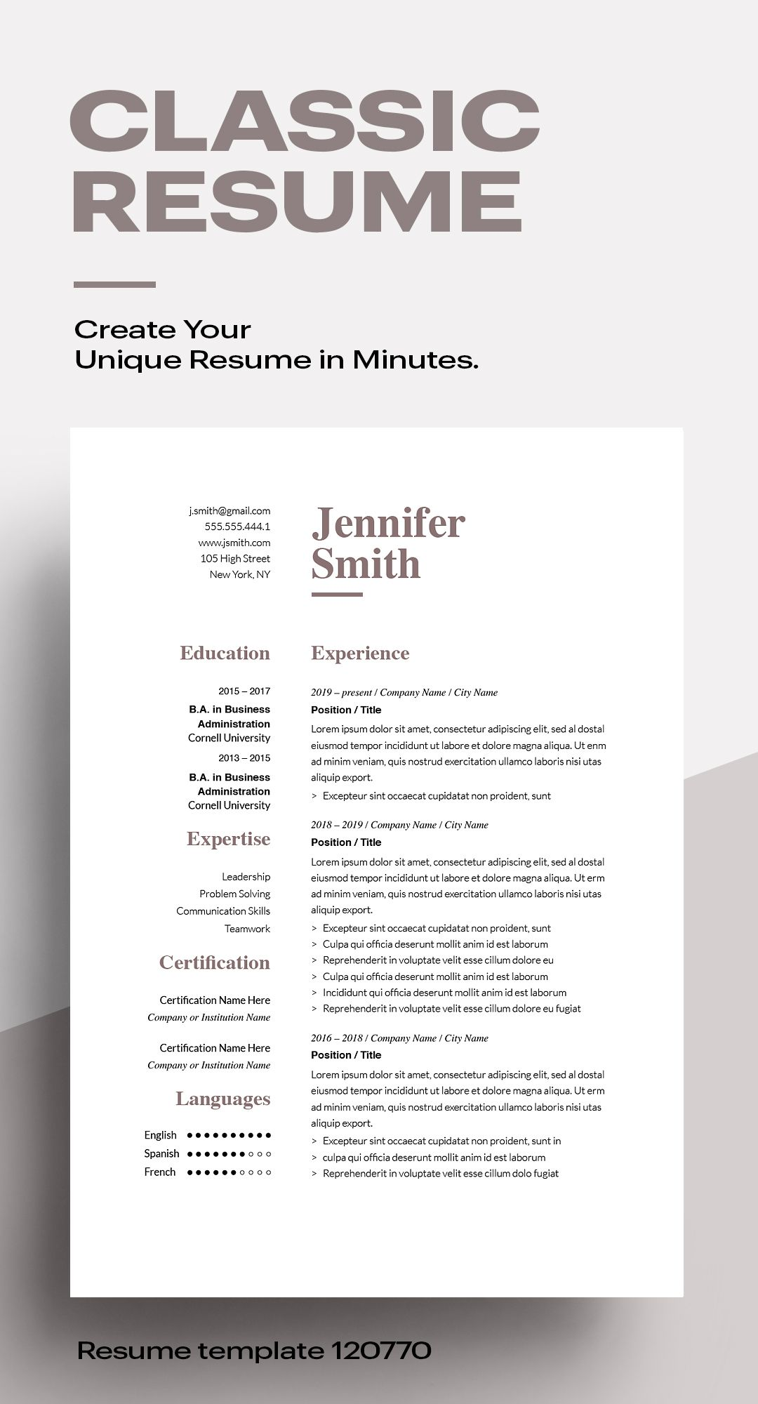 Classic Resume Template 120770 Color Brown Ms Word Resumeway In 2020 Resume Template Downloadable Resume Template Unique Resume Classic resume template word download