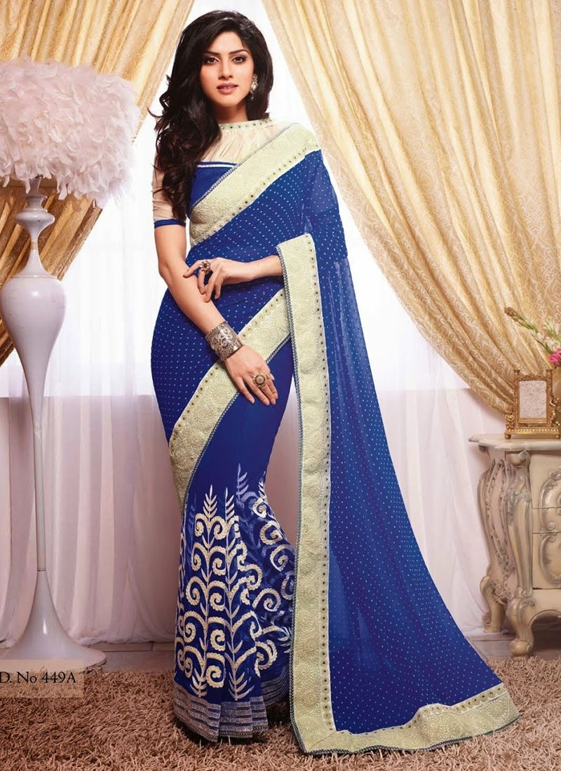 Saree for freshers party in college blue wedding wear indian saree  wholesale sarees catalog