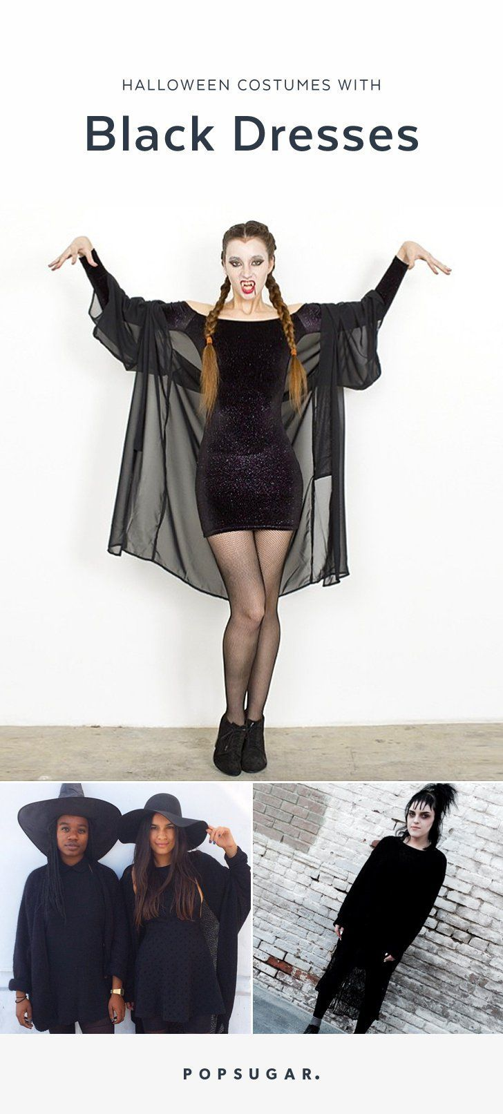 23 easy costumes you can diy with just a black dress | halloween