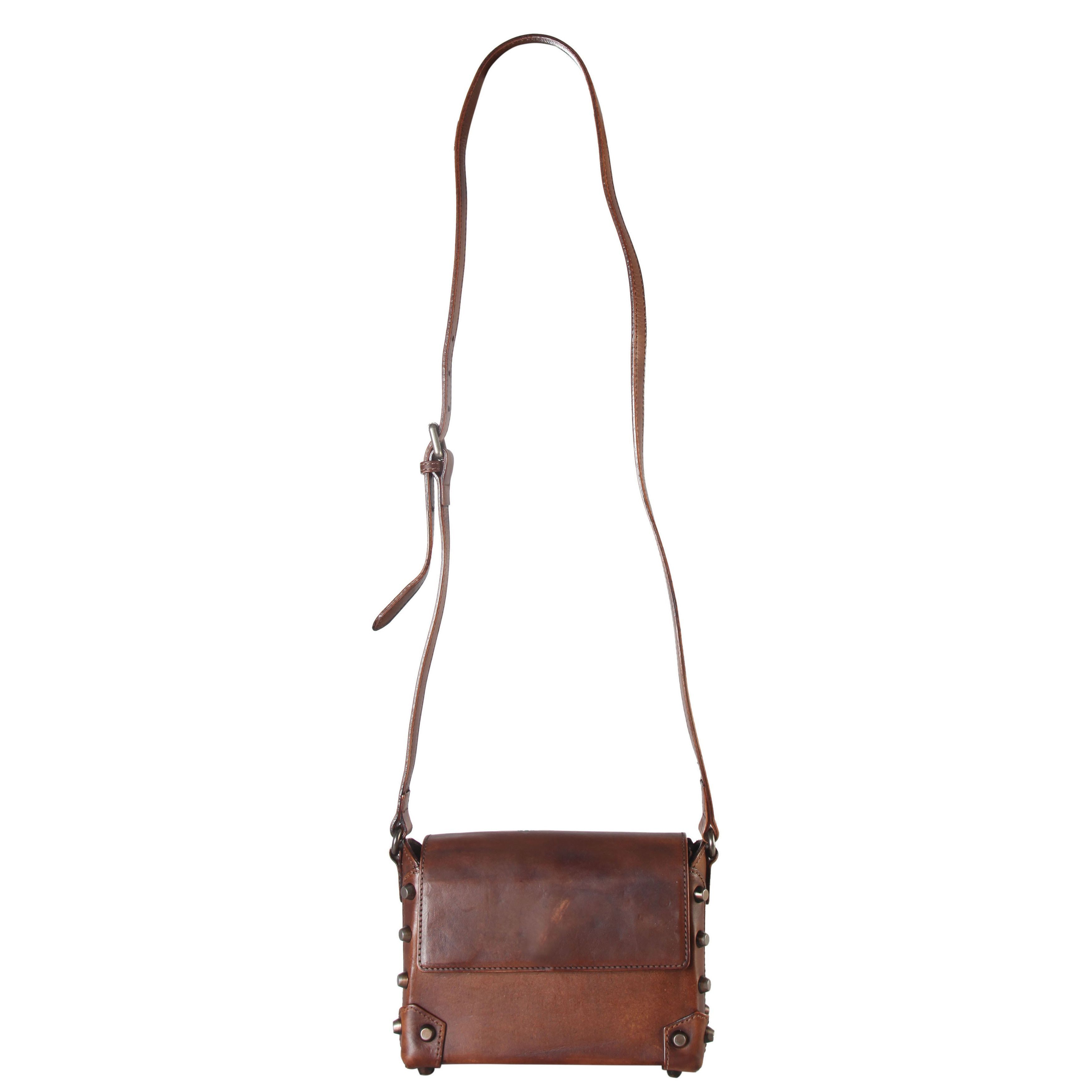 Diophy Genuine Distressed Structured Crossbody Handbag, Women's Small