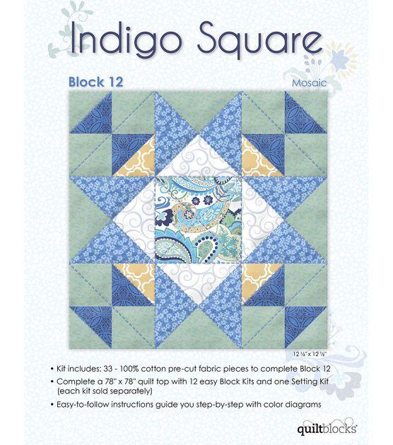 Quilt Block of the Month - Indigo Square Block 12- Mosaic