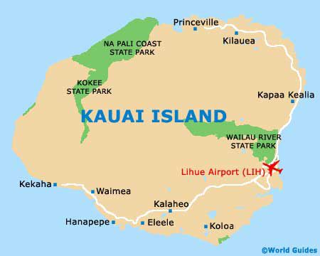 On the south-eastern s of Kauai, to town of Lihue is home to ... Kehaha Map Of Kauai Hotels on