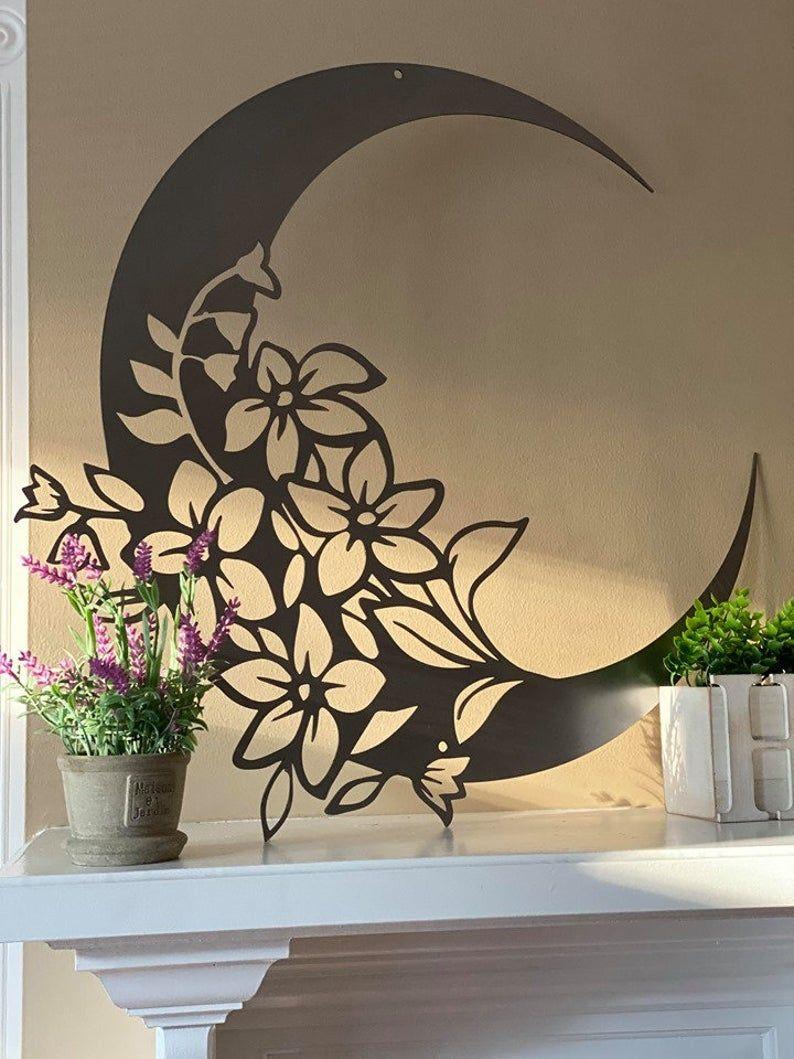 Garden modern moon metal wall art large outdoor floral