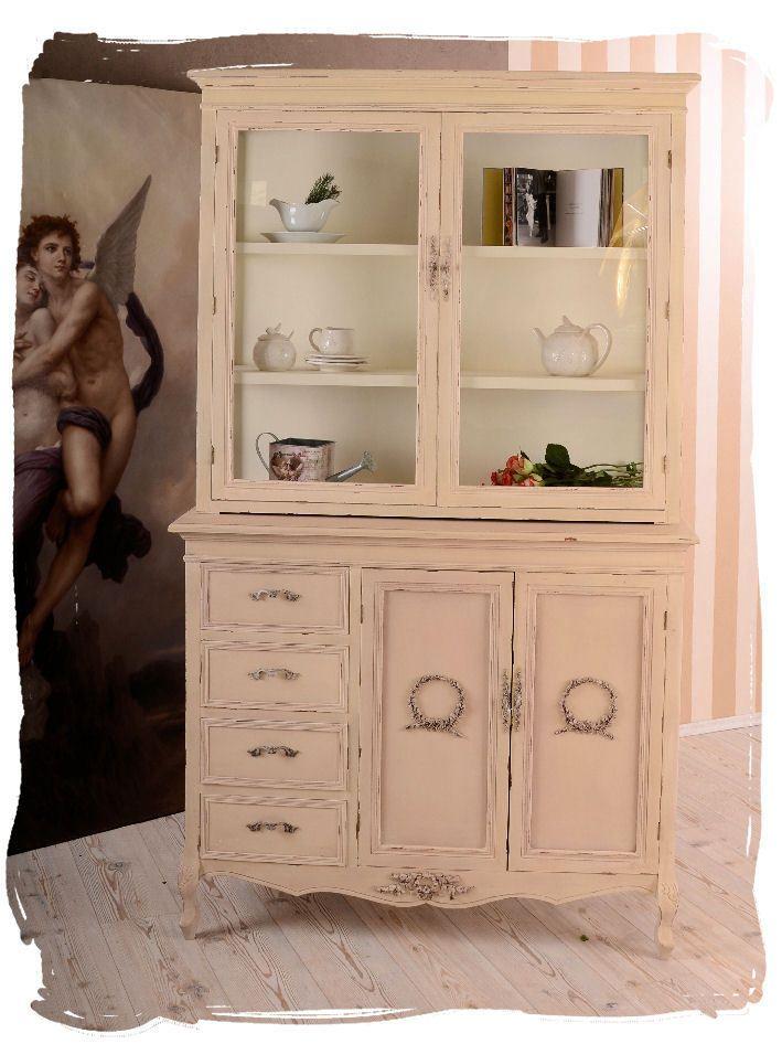 VINTAGE BUFFET CABINET DRESSER GLASS-FRONT SHABBY CHIC KITCHEN | eBay