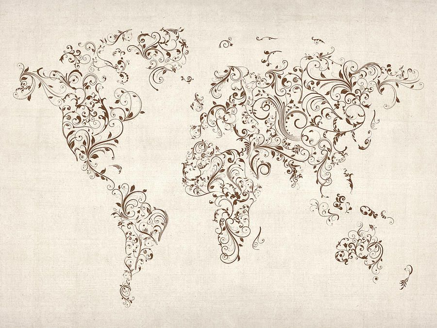 Map of the world map floral swirls digital art not sure if the blue map of the world map floral swirls digital art not sure if the blue or gumiabroncs Images