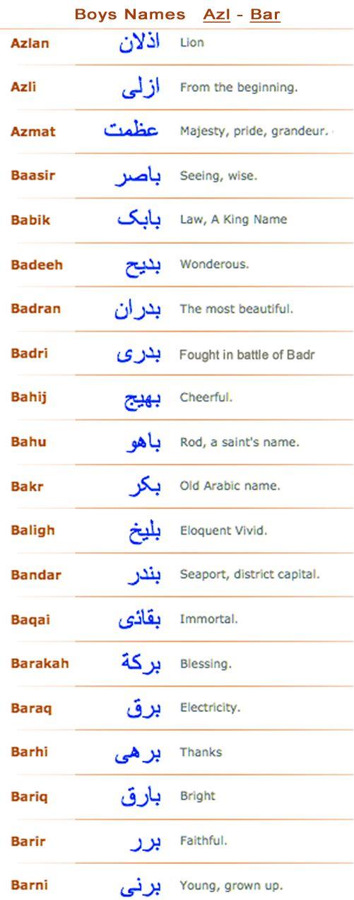 Boys Arabic Muslim Names Azl Bar