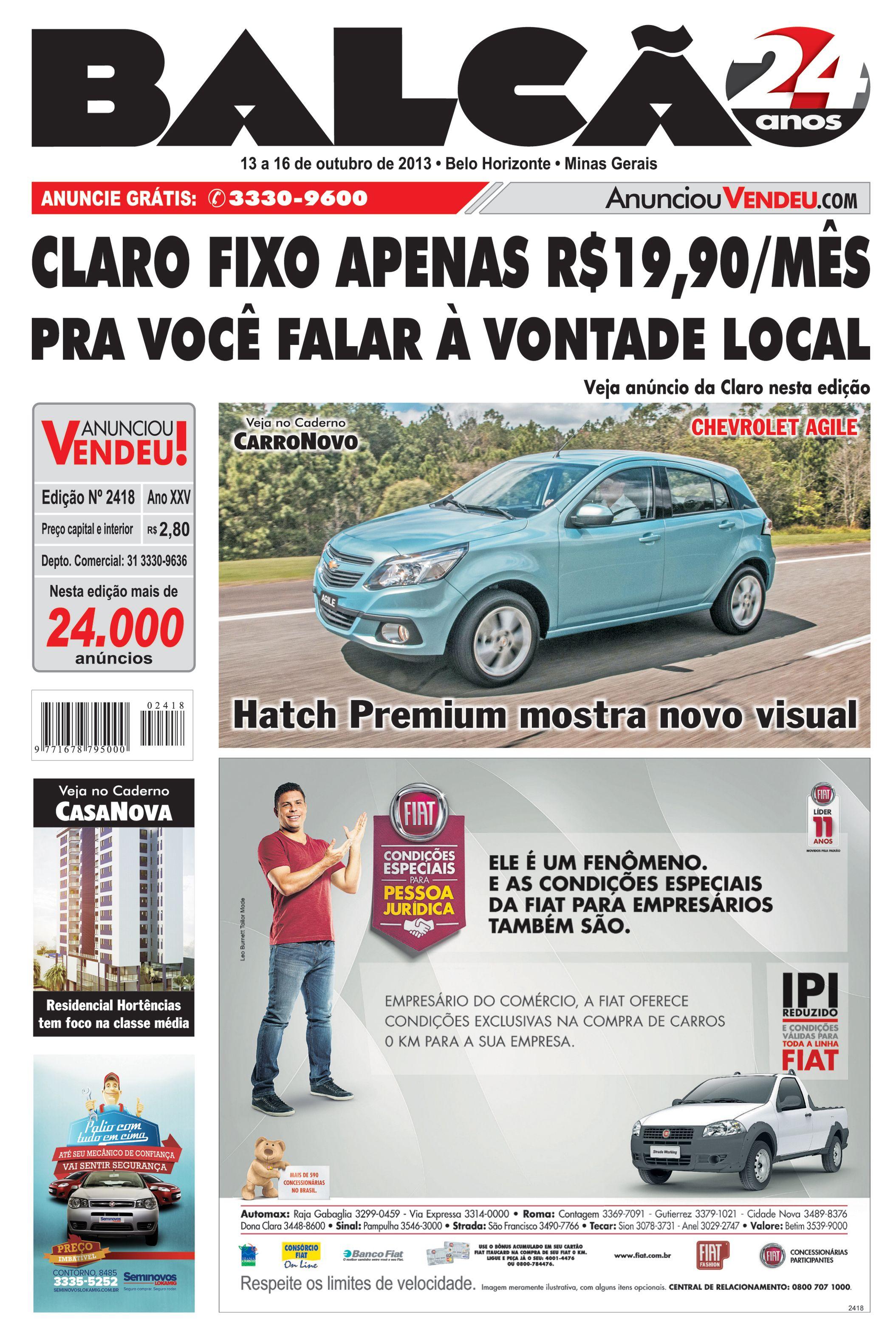 Capa Jornal Balcão em circulação dos dias 13 a 16 de Outubro. #casanova #motonova #carronovo #apartamento #carro #seminovos #jornal #BH #Claro #Agile