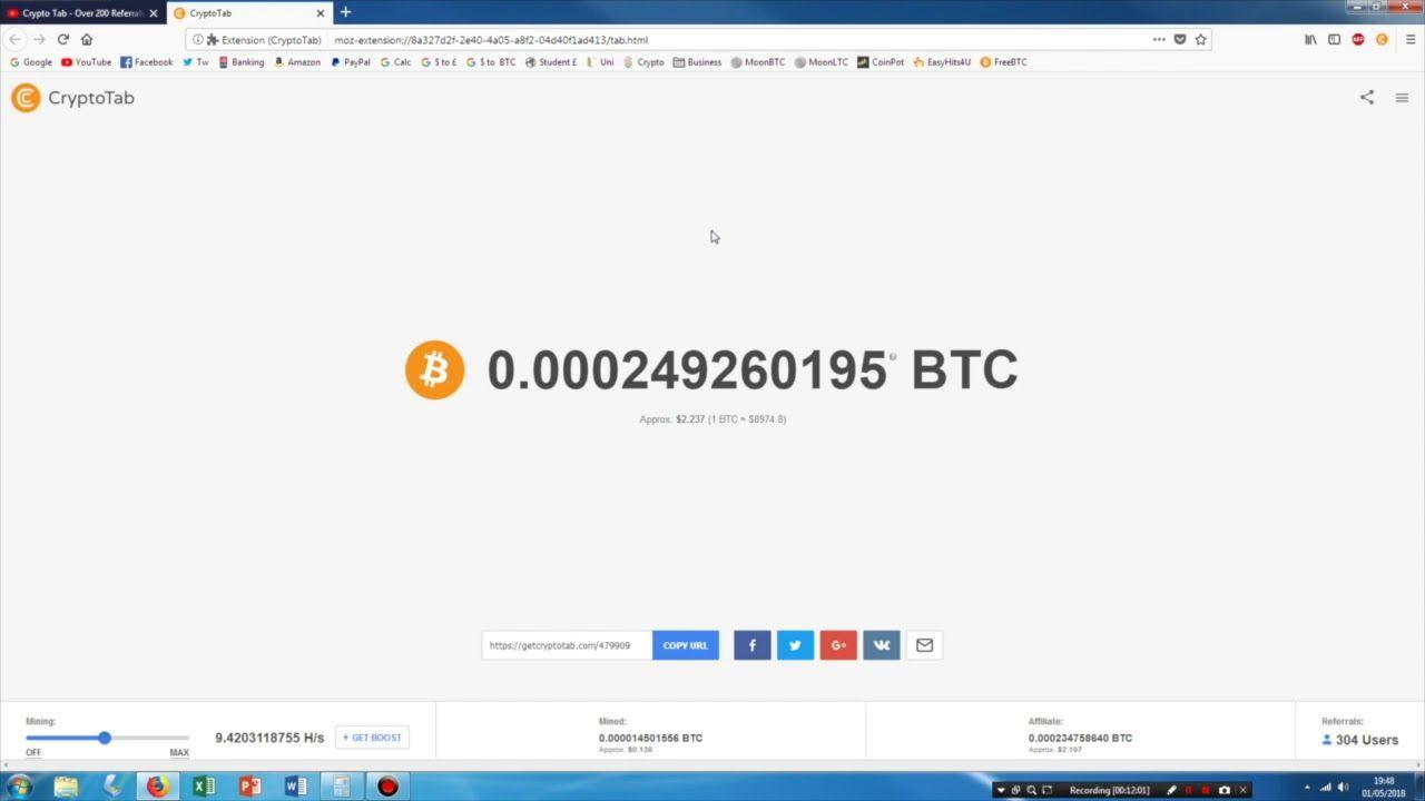 CRYPTOTAB Browser That Mines Bitcoin!! 0.01 BTC