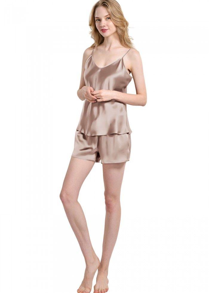 Pure Silk Camisole And Shorts Pajama Set For Womens - OOSilk  silk   sleepwear  nightwear  dressinggown  robe  bathrobe  tops  shorts  pants   trousers ... aa6a3b65e