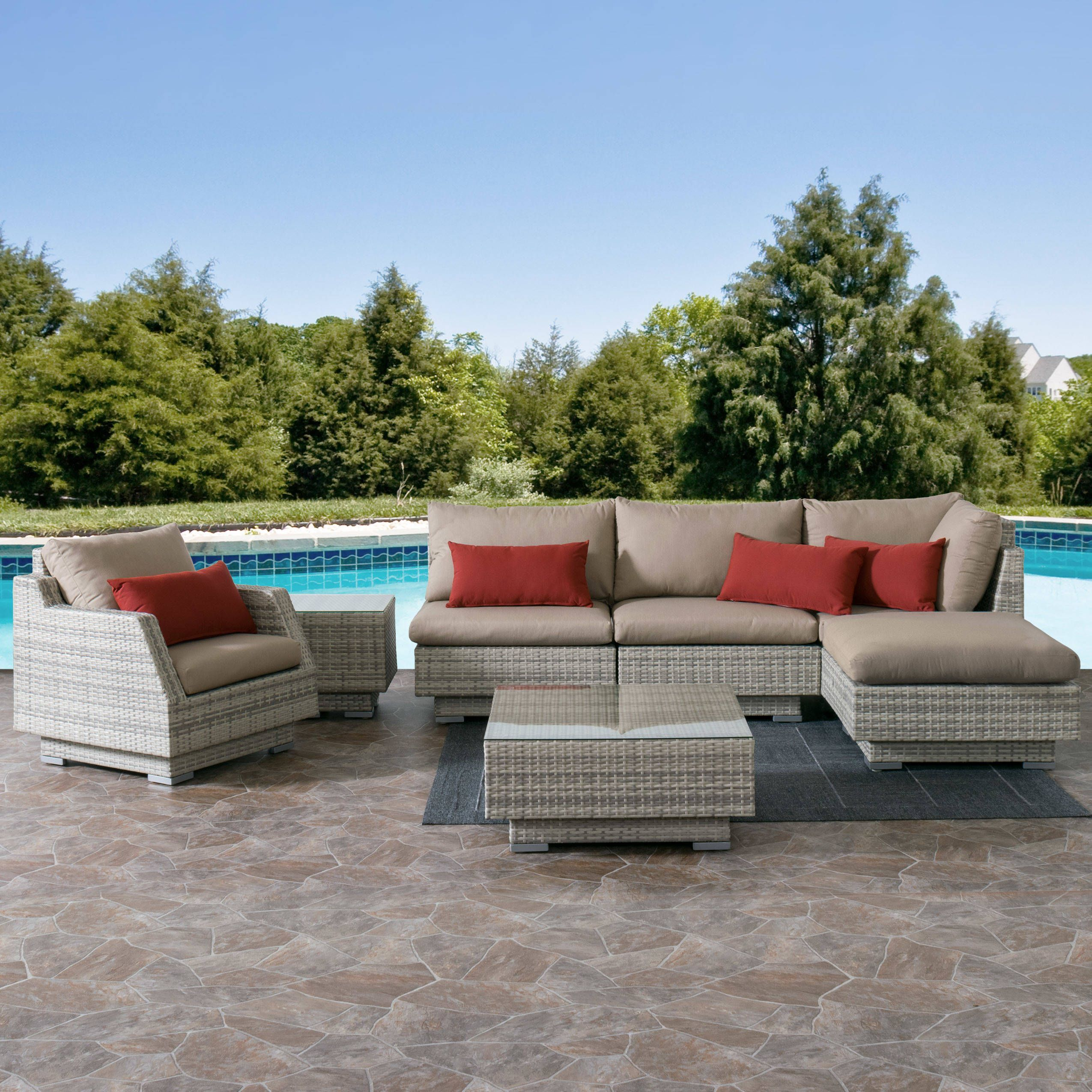 CorLiving Azure Sunbrella UV And Weather Resistant 7 Piece Wicker Patio  Sectional Set (Beige), Size 7 Piece Sets, Patio Furniture (Aluminum)
