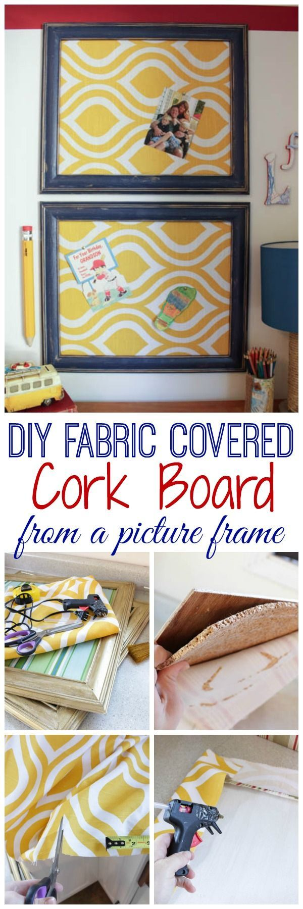 Diy fabric covered cork board using a picture frame para for Diy fabric bulletin board ideas