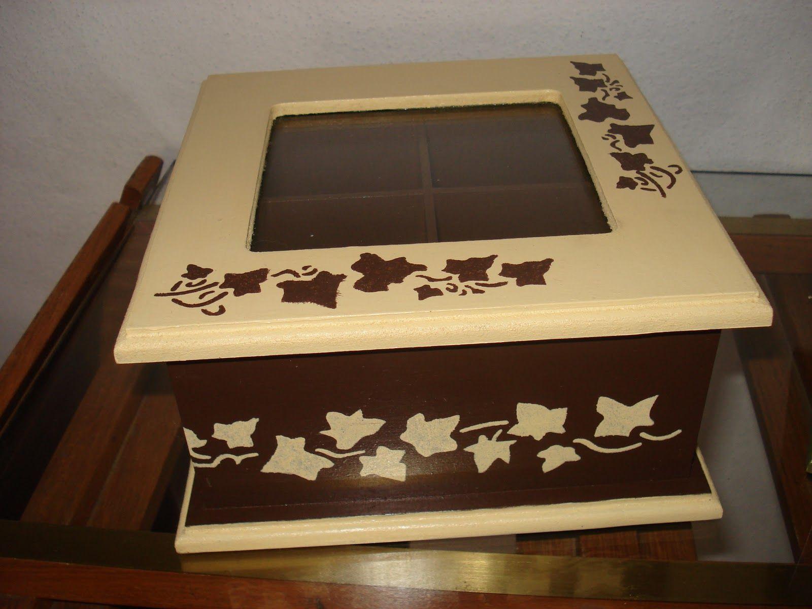 Cajas de madera pintadas a mano y trabajadas con stencil - Manualidades con cajas de madera ...