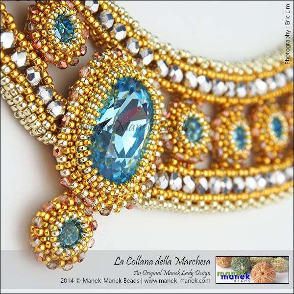 La Collana della Marchesa (The Manek Lady) Tags: necklace bead swarovski collar weaving chaton bezel craw maneklady