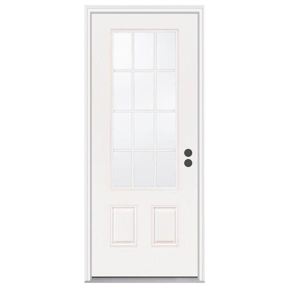 Jeld Wen 32 In X 80 In 12 Lite Primed Steel Prehung Left Hand Inswing Front Door W Brickmould Thdjw189200024 Steel Entry Doors Front Door Jeld Wen
