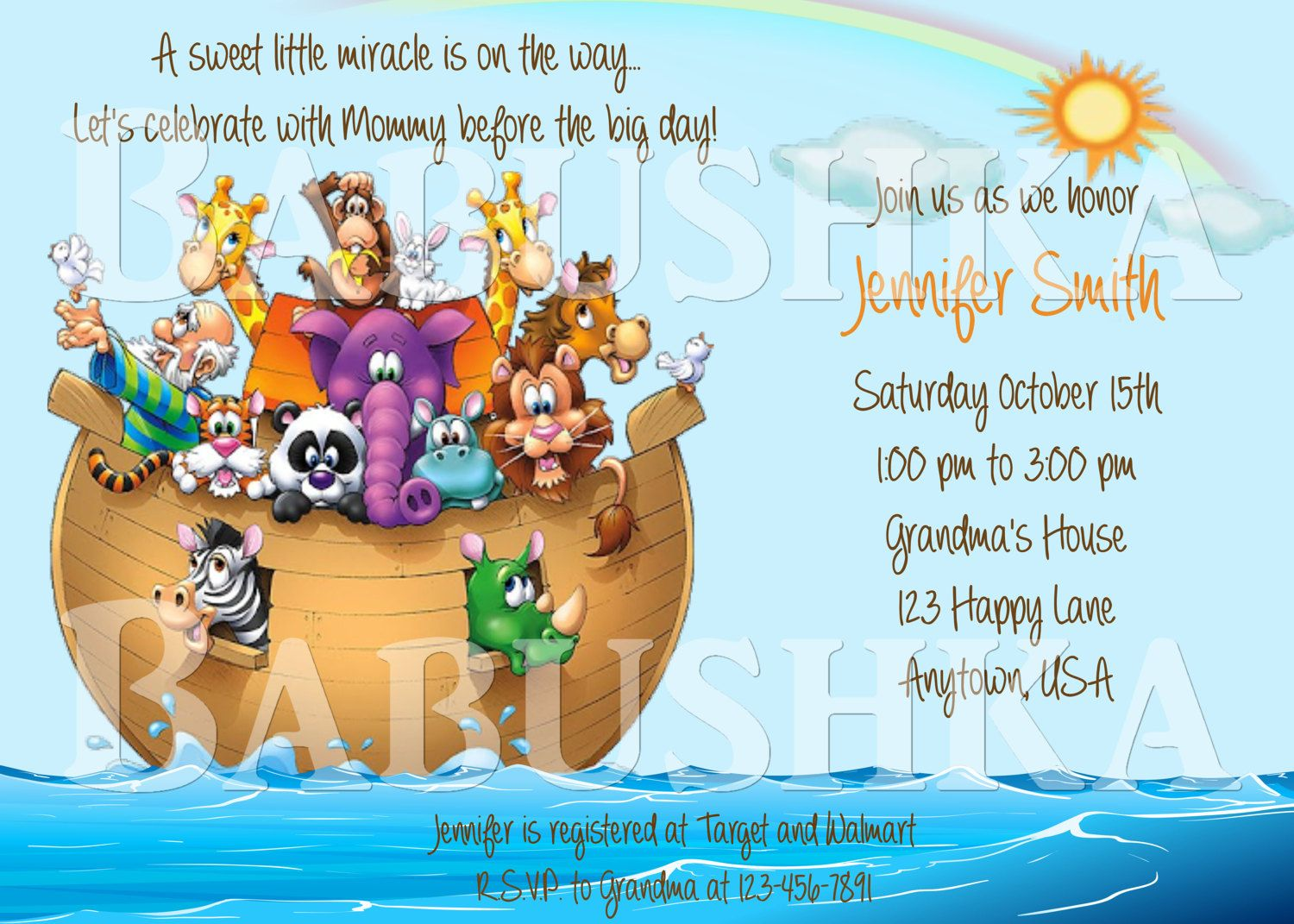 Noahs Ark Baby Shower Invitation Bible Story Noahs Ark Party