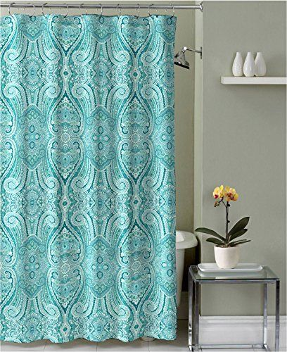 Turquoise Teal Grey White Fabric Shower Curtain Ornate Mosaic