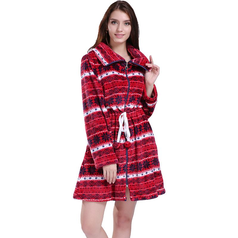 Fashion Plus Size Coral Fleece Zipper Long Christmas Fair Isle ...