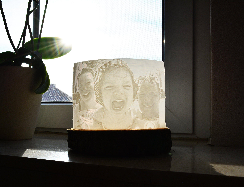 3d Foto Lithophanie Mit Baumscheibe Und Lampe Lampen 2019 Trend Ideen Decor Home Decor Vase