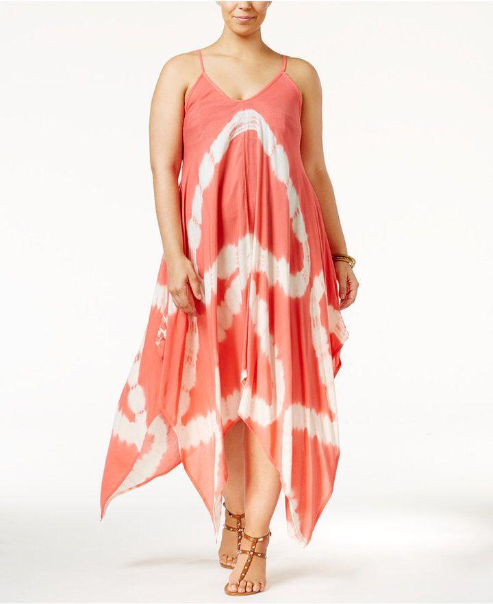 6f8d3358663 Raviya Plus Size Tie-Dye Handkerchief-Hem Cover-Up Dress Women s Swimsuit