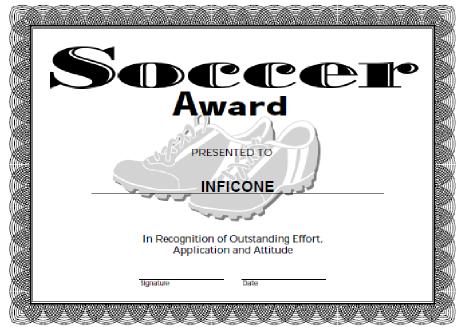 image about Printable Soccer Certificates named Totally free Printable Award Certification Template football