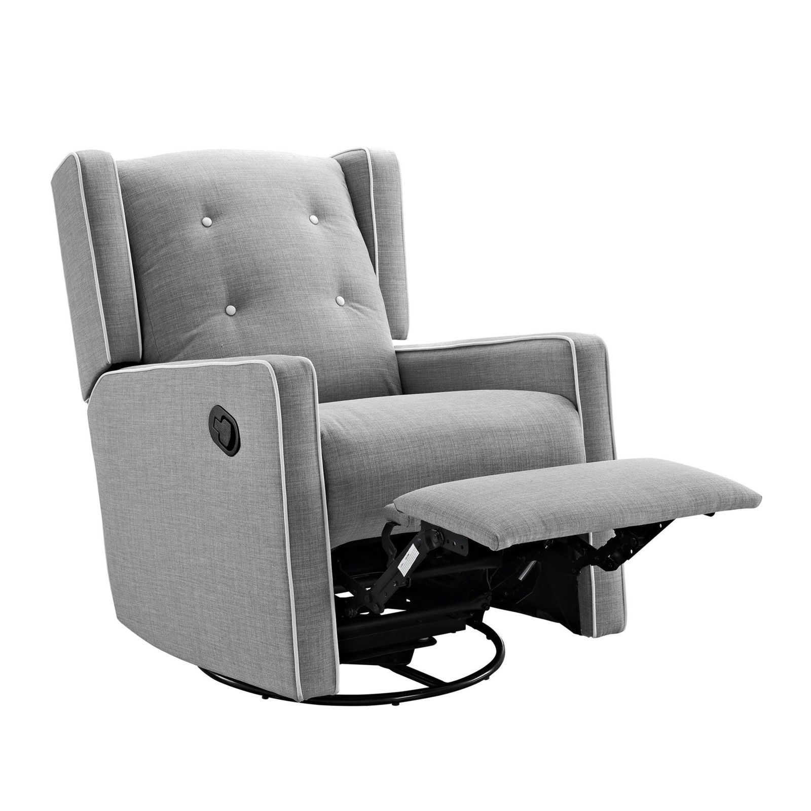 Gray Swivel Gliding Recliner Chair Extra Comfy Parents Baby Relax Nursery  Room