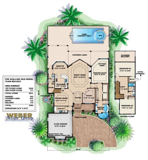 Small Mediterranean Style House Plans: Avellino Isle House Plan