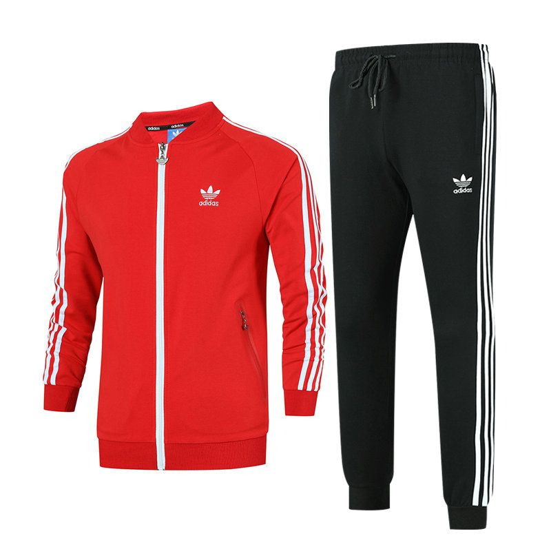 ab974616770 2018 Newest adidas Originals S-3XL Sweater Suit Climacool Textured Red Black