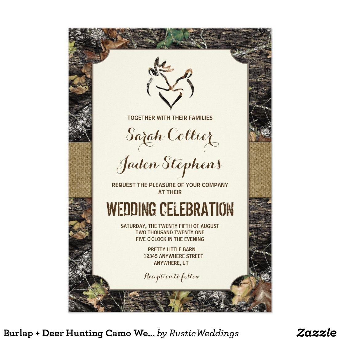 Burlap + Deer Hunting Camo Wedding Invitations   Camo wedding and ...