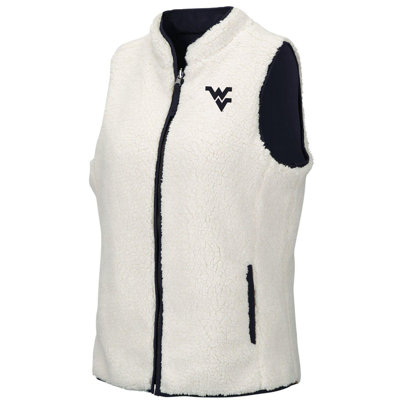 Women's Colosseum Navy/White West Virginia Mountaineers Reversible Sherpa Full-Zip Vest #westvirginia