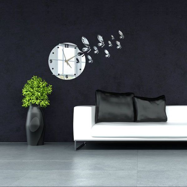 Nice 3D DIY Flying Butterflies Wall Clock Mirror Wall Sticker Modern Home Decal Amazing Design